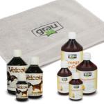 Grau Omega Skin Care oder Velcote + Hundehandtuch